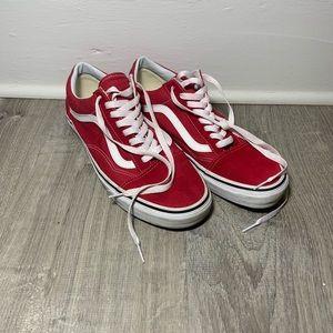 New red Vans Old Skools with black foxing stripe